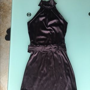 Chocolate Brown Silk Halter Dress Size 2